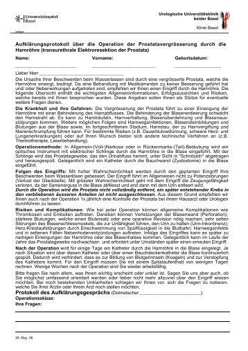 Elektroresektion der Prostata - Urologische Klinik Basel