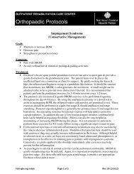 Orthopaedic Protocols