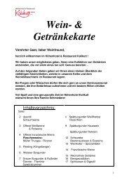 Wein- & Getränkekarte - Kalikutt