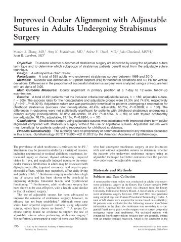 Improved Ocular Alignment with Adjustable Sutures in Adults ...