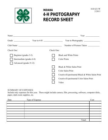 4-H PHOTOGRAPHY RECORD SHEET