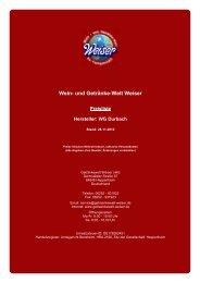 Preisliste für Hersteller: WG Durbach - und Getränke-Welt Weiser