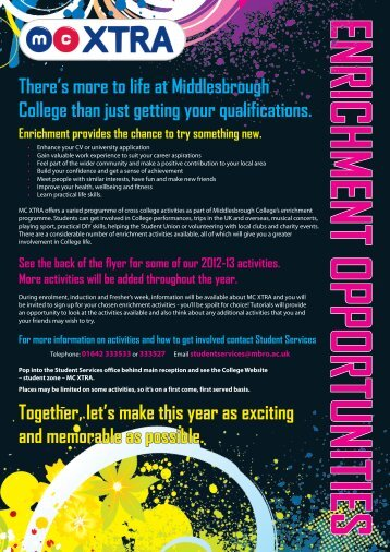 There's more to life at Middlesbrough College than just getting your ...