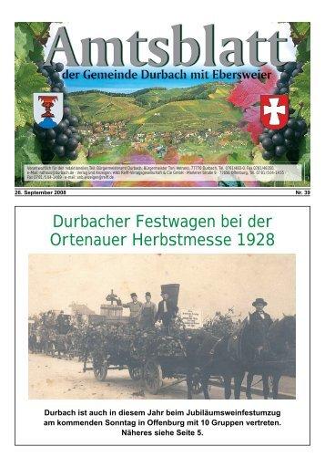 Durbacher Festwagen bei der Ortenauer Herbstmesse 1928