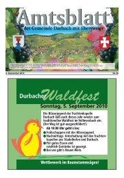 Sonntag, 5. September 2010 Durbacher Die Bläserjugend der ...