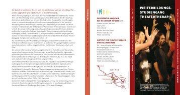 WEITERBILDUNGS- STUDIENGANG THEATERTHERAPIE