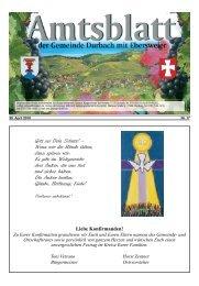 Tourist-Information/Verkehrsverein Durbach in der Zeit vom 30. April ...
