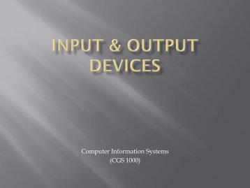 Input & Output Devices - Tiona Consulting