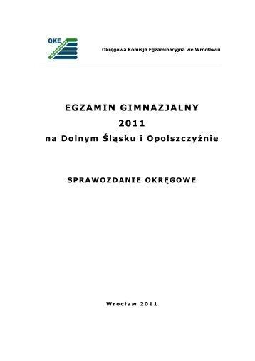 Raport z egzaminu gimnazjalnego w 2011 r. - Okręgowa Komisja ...