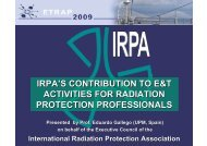 irpa's contribution to e&t activities for radiation protection professionals