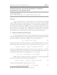 Testing Scenarios of Lorentz Symmetry Violation Generated at the ...