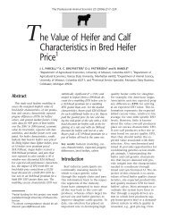 The Value of Heifer and Calf Characteristics in Bred Heifer Price