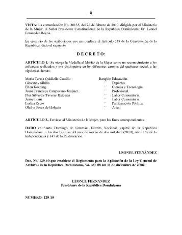 Decreto No 129-10 Reglamento de la Ley General de ... - Infotep