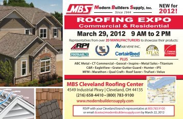 March 29, 2012 9 AM to 2 PM - Modern Builders Supply