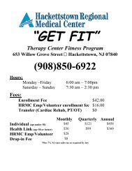Get Fit Form - Hackettstown Regional Medical Center