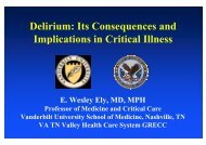 Wesley Ely Delirium and its consequences and implications in the ...