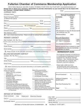 Fullerton Chamber of Commerce Membership Application