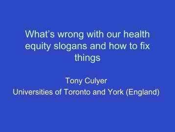 What's wrong with our health equity slogans? - solutions - east ...
