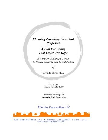 Choosing Promising Ideas And Proposals A Tool For Giving That ...