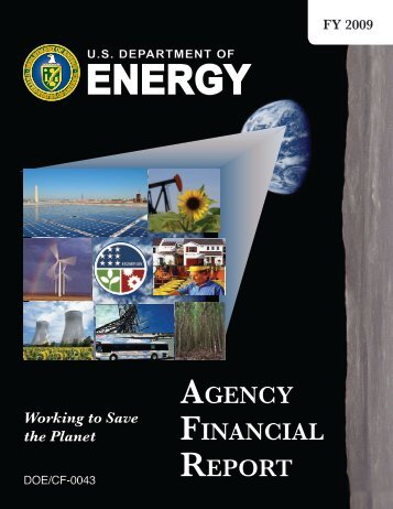 FY 2009 DOE Agency Financial Report - U.S. Department of Energy