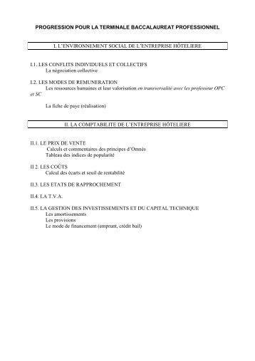 Progression Gestion BAC Pro Restauration 3 ans - Economie et ...