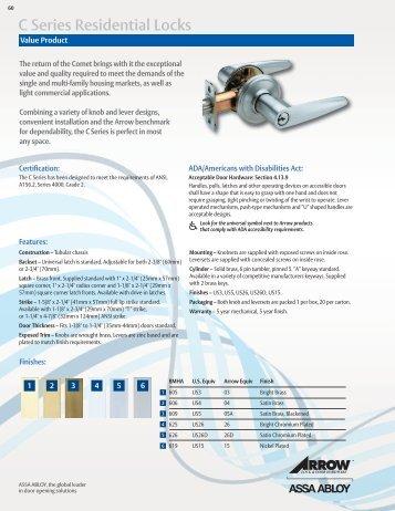 C Series Residential Locks - Arrow Architectural Hardware