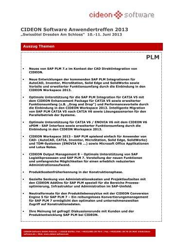Veranstaltungs-Themen - Cideon Software GmbH