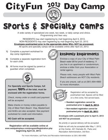Sports & Specialty Camps - City of West Palm Beach