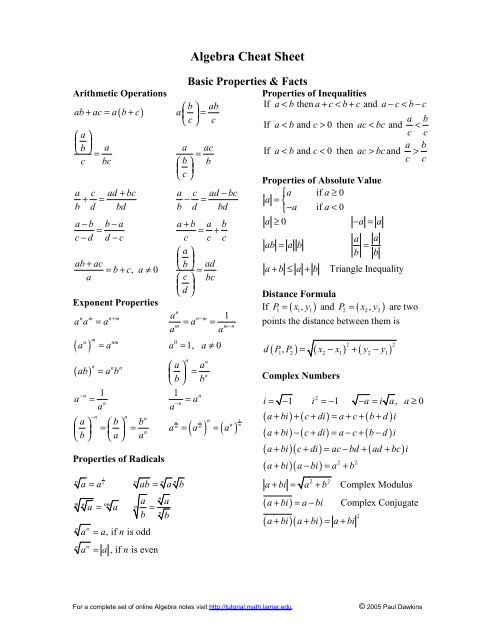 Algebra Cheat Sheet Pauls Online Math Notes Tool/calculator to simplify or minify boolean expressions (boolean algebra) containing logical expressions with and, or, not, xor. algebra cheat sheet pauls online