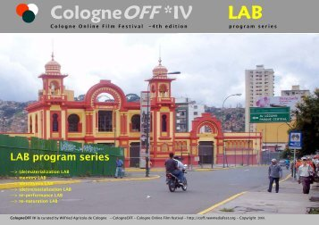 CologneOFF *IV - Downloads - NewMediaArtProjectNetwork