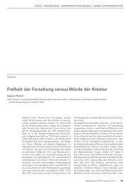 Freiheit der Forschung versus Würde der Kreatur - Bioethica Forum
