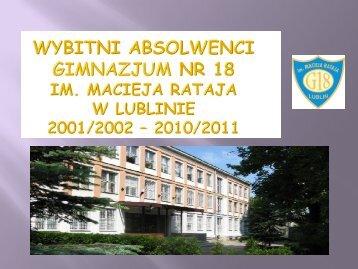 Wybitni absolwenci naszej szkoły 2001-2011 - Gimnazjum nr 18 w ...
