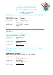 ADVANCE PROGRAMME Saturday 6th October 2012 PROS Sessions