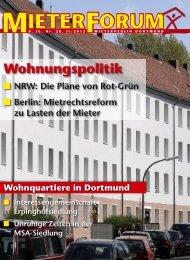 NRW: Die Pläne von Rot-Grün - Mieterverein Dortmund und Umgebung eV