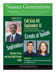 Fall Kick-Off September 12 - Nassau Presbyterian Church