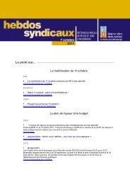 les Hebdos syndicaux du 7 octobre 2011