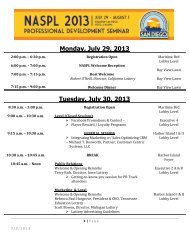 Monday, July 29, 2013 Tuesday, July 30, 2013 - NASPL