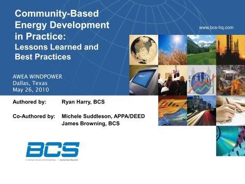 Community-Based Energy Development in Practice: