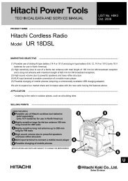 Model UR 18DSL CORDLESS RADIO - Hitachi