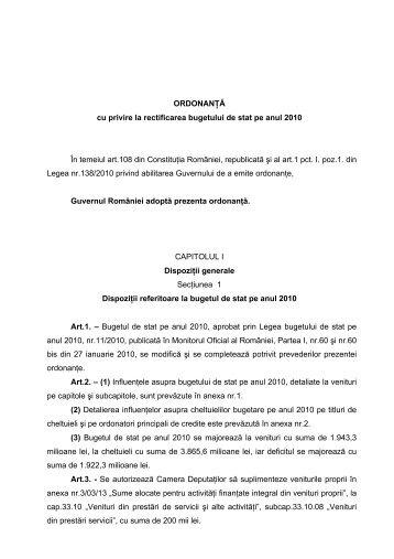 ORDONANŢĂ cu privire la rectificarea bugetului de stat pe anul ...