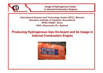 Usage of Hydrogenous Gases in Internal-Combustion Engines - ISTC
