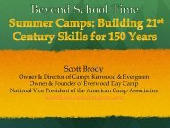 The Camp Experience: - The Partnership for 21st Century Skills