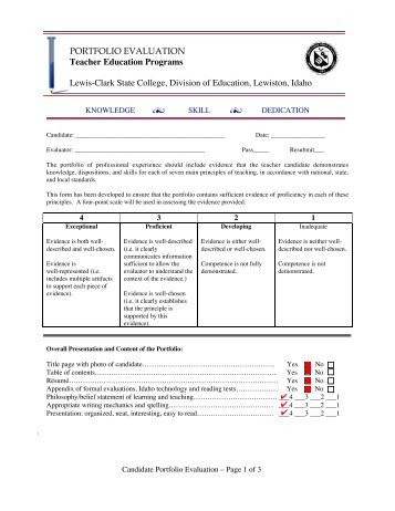 Portfolio Evaluation Form (pdf) - LCSC Education Division - Lewis ...