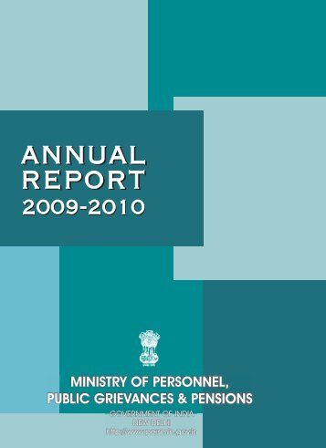Annual Report 2009-2010 in English - Ministry of Personnel, Public ...