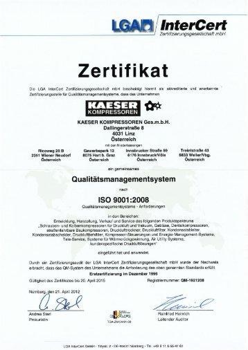 ISO 9001 Zertifikat - KAESER Kompressoren