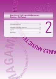 Description of the Group and its Businesses – Litigation – Risk Factors