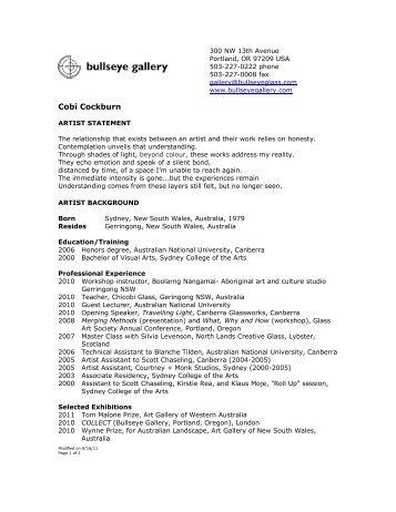 Cobi Cockburn - Bullseye Gallery