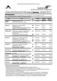 Schulbuchliste Klassenstufe 9 Bildungsgang Realschule ...