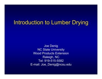 Introduction to Lumber Drying - North Carolina State University