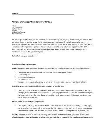 "Writer's Workshop: ""Non-Narrative"" Writing"